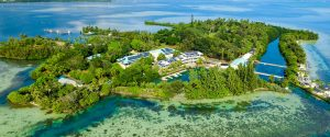 Aerial view of Moku o Loʻe and HIMB